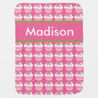 Cobertor De Bebe Cobertura personalizada do cupcake de Madison