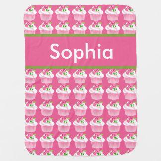 Cobertor De Bebe Cobertura personalizada do cupcake de Sophia