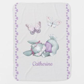 Cobertor De Bebe Coelho adorável do sono no rosa pastel e no roxo