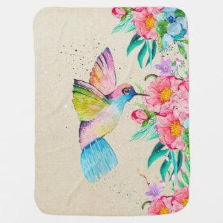 Cobertor De Bebe Colibri e flores lunáticos da aguarela
