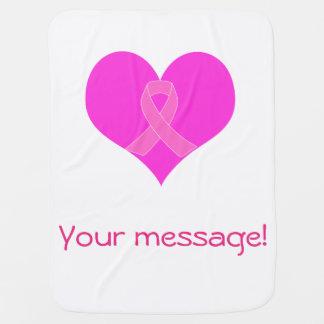 Cobertor De Bebe Coração e design da caridade do cancro da mama da
