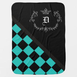 Cobertor De Bebe Coroa personalizada do tabuleiro de damas do preto