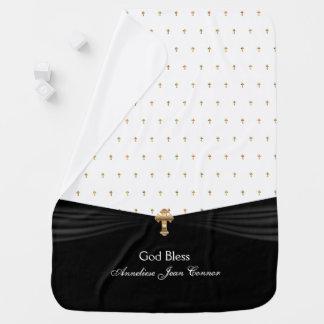 Cobertor De Bebe Cruzes brancas do ouro do baptismo   do batismo  