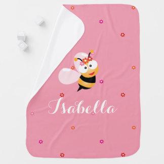 Cobertor De Bebe Desenhos animados cor-de-rosa femininos bonitos da