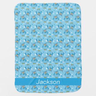 Cobertor De Bebe Design do teste padrão da coruja das bolinhas dos