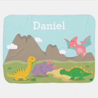 Cobertor De Bebe Dinossauros coloridos bonitos para bebés