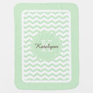 Cobertor De Bebe Do ziguezague Pastel da hortelã do monograma