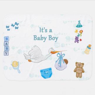 Cobertor De Bebe É um menino - chá de fraldas personalizado