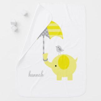 Cobertor De Bebe Elefante amarelo com o guarda-chuva personalizado