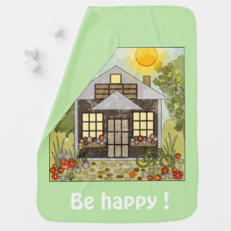Cobertor De Bebe Esteja feliz! verde