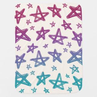Cobertor De Bebe Estrelas desenhados mão magentas, roxas, e da