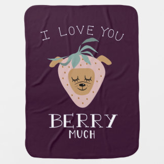 """Cobertor De Bebe """"Eu te amo BAGA muita"""" chalaça do cão da morango"""