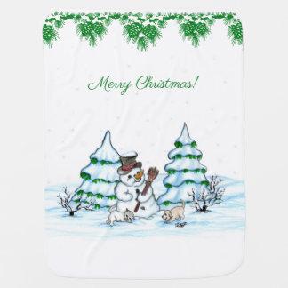 Cobertor De Bebe Feliz Natal! Boneco de neve com gato e filhote de