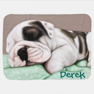 Cobertor De Bebe Filhote de cachorro do buldogue do sono