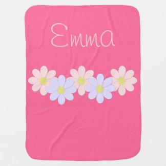 Cobertor De Bebe Flor cor-de-rosa e roxa