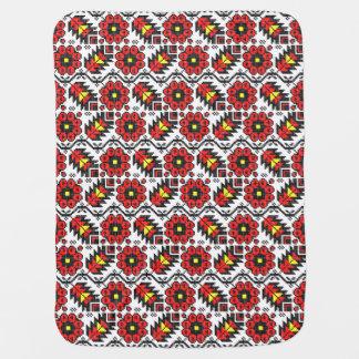 Cobertor De Bebe Flor floral do ponto de cruz da arte do folclore