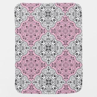 Cobertor De Bebe Flourish Rococo cor-de-rosa do teste padrão