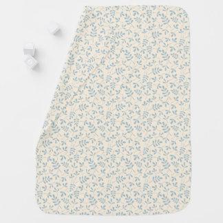 Cobertor De Bebe Folhas Assorted azuis no teste padrão de creme de