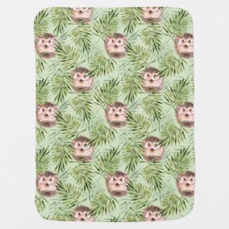 Cobertor De Bebe Folhas do ouriço e do verde