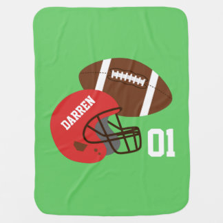 Cobertor De Bebe Futebol americano e bebé vermelho do capacete