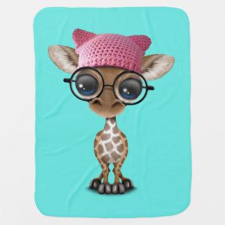 Cobertor De Bebe Girafa bonito do bebê que veste o chapéu do