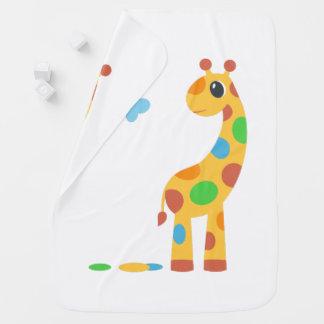 Cobertor De Bebe Girafa colorido dos desenhos animados no branco