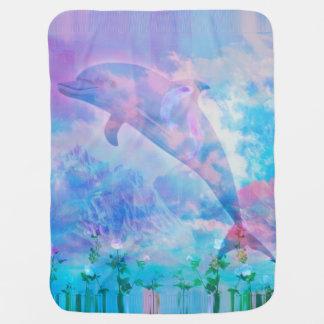 Cobertor De Bebe Golfinho de Vaporwave no céu