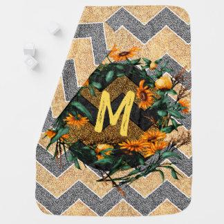 Cobertor De Bebe Grinalda dos girassóis da inicial do monograma de