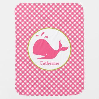 Cobertor De Bebe Guingão cor-de-rosa + Cobertura personalizada