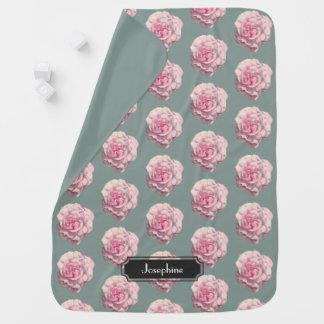Cobertor De Bebe Ilustração da aguarela do rosa do rosa com nome do