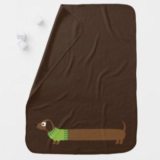 Cobertor De Bebe Ilustração longa bonito do Dachshund