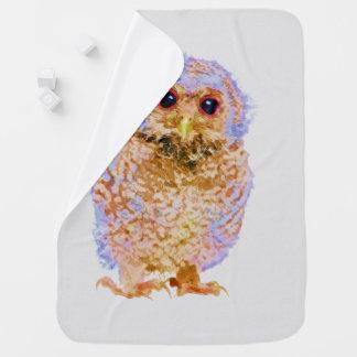Cobertor De Bebe Impressão do berçário da aguarela da coruja do
