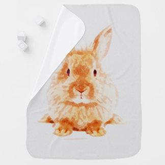 Cobertor De Bebe Impressão do berçário da aguarela do coelho do