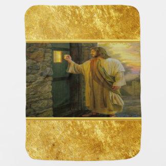 Cobertor De Bebe Jesus em sua porta com um design da folha de ouro