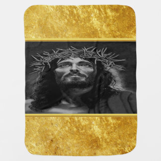 Cobertor De Bebe Jesus que olha no céu com um design da folha de