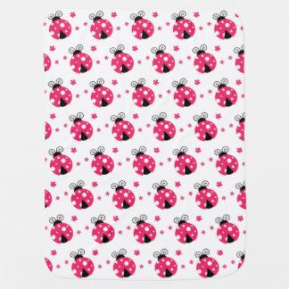 Cobertor De Bebe Labybirds cor-de-rosa bonito e flores