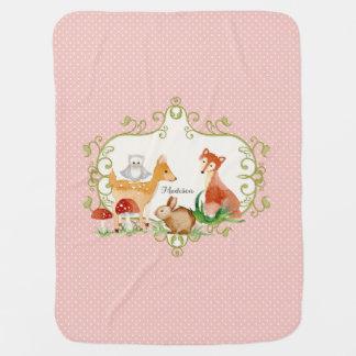 Cobertor De Bebe Lance do berçário dos animais da floresta do conto