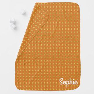 Cobertor De Bebe Laranja gráfica das margaridas |