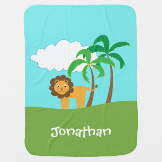 Cobertor De Bebe Leão na selva com as palmeiras personalizadas