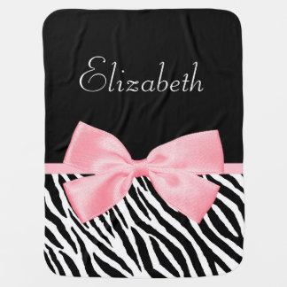 Cobertor De Bebe Luz feminino do impressão chique da zebra - nome
