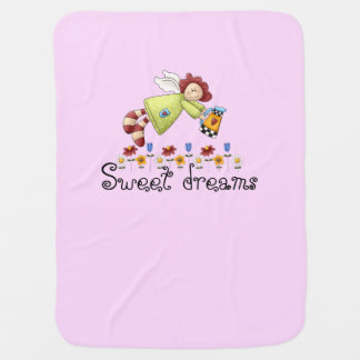 Cobertor De Bebe Menina do rosa do anjo do jardim do país