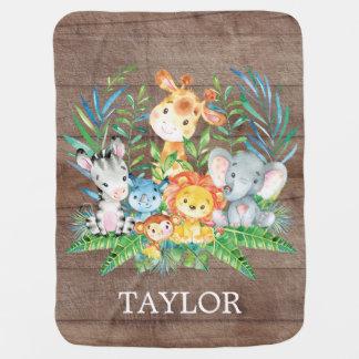 Cobertor De Bebe Menina personalizada do menino | do safari que