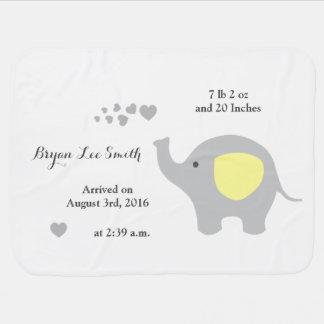 Cobertor De Bebe Menino amarelo do anúncio do Stats do nascimento