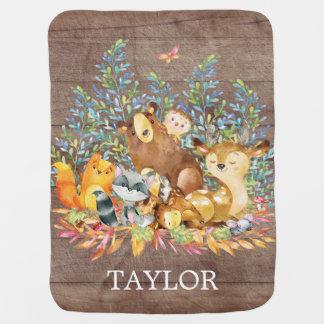 Cobertor De Bebe Menino personalizado da floresta | Gir que recebe