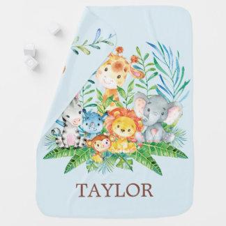 Cobertor De Bebe Meninos personalizados da selva do safari que