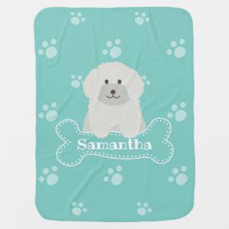 Cobertor De Bebe Monograma unisex macio bonito do Aqua do cão de