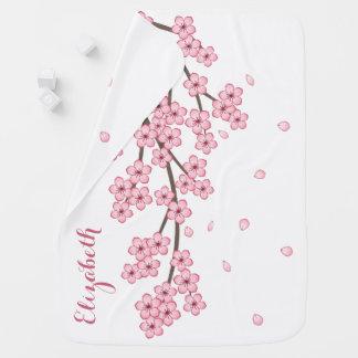 Cobertor De Bebe Nome do costume de ramo da flor de cerejeira de
