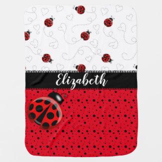 Cobertor De Bebe Nome preto vermelho dos besouros de joaninha do