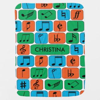 Cobertor De Bebe Notas musicais personalizadas