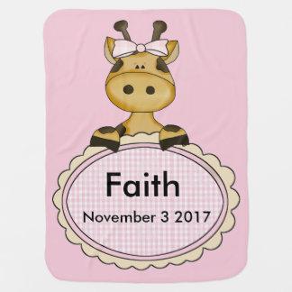 Cobertor De Bebe O girafa personalizado da fé